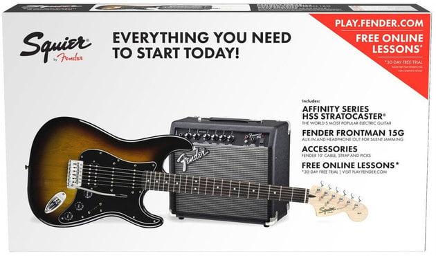 Fender Squier Affinity Series Stratocaster Pack HSS IL Brown Sunburst