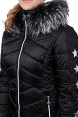 Sportalm Blanche Womens Jacket with Hood and Fur Black