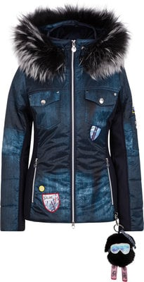 Sportalm Dondai Womens Jacket with Hood and Fur Sky Captain 38