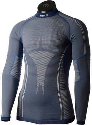 Mico Long Sleeve Mock Neck Mens Base Layer Blue Melange S/M