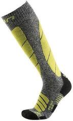 UYN Pro Race Mens Socks Grey Melange/Green Lime 35-38