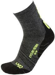 UYN Cycling Merino Mens Socks Anthracite/Fluo Yellow