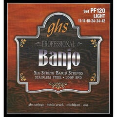 GHS PF120 Banjo String Set 6-String Stainless Steel, Light 011 - 042