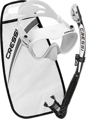 Cressi Set Mask F1 + snorkel Alpha Ultra Dry - White