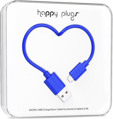 Happy Plugs Micro-USB Cable 2 m Cobalt